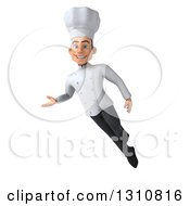 Clipart Of A 3d Young White Male Chef Flying And Presenting Royalty Free Illustration