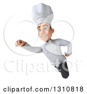Clipart Of A 3d Young White Male Chef Flying 2 Royalty Free Illustration