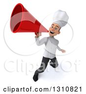 Clipart Of A 3d Young White Male Chef Announcing Upwards With A Megaphone Royalty Free Illustration