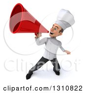 Clipart Of A 3d Young White Male Chef Announcing With A Megaphone Royalty Free Illustration