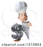 Clipart Of A 3d Young White Male Chef Holding A Dollar Symbol Around A Sign Royalty Free Illustration