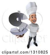 Clipart Of A 3d Young White Male Chef Holding Up A Dollar Symbol Royalty Free Illustration