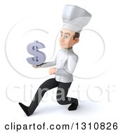Clipart Of A 3d Young White Male Chef Speed Walking To The Left And Holding A Dollar Symbol Royalty Free Illustration