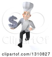 Clipart Of A 3d Young White Male Chef Sprinting And Holding A Dollar Symbol Royalty Free Illustration
