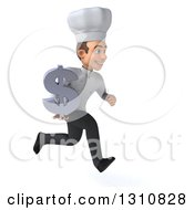 Clipart Of A 3d Young White Male Chef Sprinting To The Right And Holding A Dollar Symbol Royalty Free Illustration