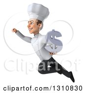 Clipart Of A 3d Young White Male Chef Flying To The Left And Holding A Dollar Symbol Royalty Free Illustration