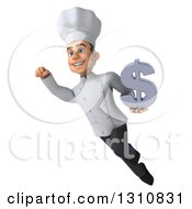 Clipart Of A 3d Young White Male Chef Flying And Holding A Dollar Symbol 2 Royalty Free Illustration