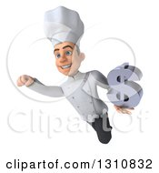 Clipart Of A 3d Young White Male Chef Flying And Holding A Dollar Symbol Royalty Free Illustration