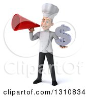 Clipart Of A 3d Young White Male Chef Holding A Dollar Symbol And Announcing With A Megaphone Royalty Free Illustration