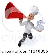 Clipart Of A 3d Young White Male Chef Holding A Dollar Symbol And Announcing Upwards With A Megaphone Royalty Free Illustration