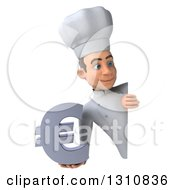 Clipart Of A 3d Young White Male Chef Holding A Euro Symbol Around A Sign Royalty Free Illustration
