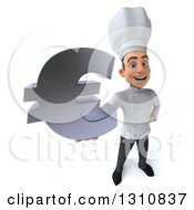 Clipart Of A 3d Young White Male Chef Holding Up A Euro Symbol Royalty Free Illustration