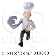 Clipart Of A 3d Young White Male Chef Sprinting And Holding A Euro Symbol Royalty Free Illustration