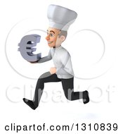 Clipart Of A 3d Young White Male Chef Sprinting To The Left And Holding A Euro Symbol Royalty Free Illustration