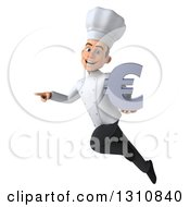 Clipart Of A 3d Young White Male Chef Flying Pointing And Holding A Euro Symbol Royalty Free Illustration
