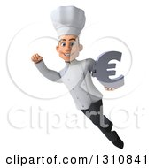 Clipart Of A 3d Young White Male Chef Flying And Holding A Euro Symbol Royalty Free Illustration