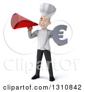 Clipart Of A 3d Young White Male Chef Holding A Euro Symbol And Announcing With A Megaphone Royalty Free Illustration