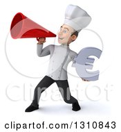 Clipart Of A 3d Young White Male Chef Holding A Euro Symbol And Announcing With A Megaphone 2 Royalty Free Illustration
