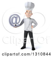 Clipart Of A 3d Young White Male Chef Holding An Email Arobase At Symbol Royalty Free Illustration
