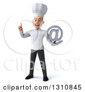Clipart Of A 3d Young White Male Chef Holding Up A Finger And An Email Arobase At Symbol Royalty Free Illustration
