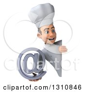 Clipart Of A 3d Young White Male Chef Holding An Email Arobase At Symbol Around A Sign 2 Royalty Free Illustration