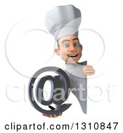 Clipart Of A 3d Young White Male Chef Holding An Email Arobase At Symbol Around A Sign Royalty Free Illustration