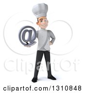 Clipart Of A 3d Young White Male Chef Smiling And Holding An Email Arobase At Symbol Royalty Free Illustration
