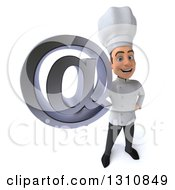 Clipart Of A 3d Young White Male Chef Holding Up An Email Arobase At Symbol Royalty Free Illustration