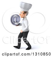 Clipart Of A 3d Young White Male Chef Walking To The Left And Holding An Email Arobase At Symbol Royalty Free Illustration