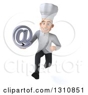 Clipart Of A 3d Young White Male Chef Sprinting Holding An Email Arobase At Symbol Royalty Free Illustration