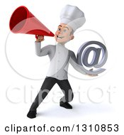 Clipart Of A 3d Young White Male Chef Holding An Email Arobase At Symbol And Using A Megaphone Royalty Free Illustration