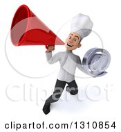 Clipart Of A 3d Young White Male Chef Holding An Email Arobase At Symbol And Using A Megaphone 2 Royalty Free Illustration