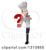 Clipart Of A 3d Full Length Young White Male Chef Holding A Question Mark Around A Sign Royalty Free Illustration
