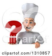 Clipart Of A 3d Young White Male Chef Holding A Question Mark Over A Sign Royalty Free Illustration
