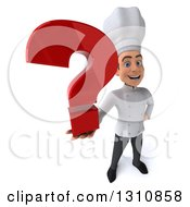 Clipart Of A 3d Young White Male Chef Holding Up A Question Mark Royalty Free Illustration
