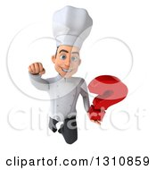 Clipart Of A 3d Young White Male Chef Flying And Holding A Question Mark 2 Royalty Free Illustration