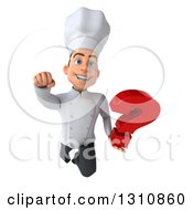 Clipart Of A 3d Young White Male Chef Flying And Holding A Question Mark Royalty Free Illustration