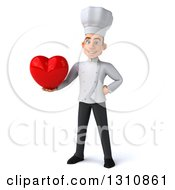 Clipart Of A 3d Young White Male Chef Holding A Love Heart Royalty Free Illustration