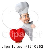 Clipart Of A 3d Young White Male Chef Holding A Love Heart Around A Sign 3 Royalty Free Illustration