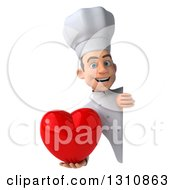 Clipart Of A 3d Young White Male Chef Holding A Love Heart Around A Sign 2 Royalty Free Illustration