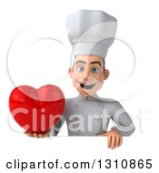 Clipart Of A 3d Young White Male Chef Holding A Love Heart Over A Sign Royalty Free Illustration