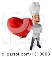 Clipart Of A 3d Young White Male Chef Holding Up A Love Heart Royalty Free Illustration