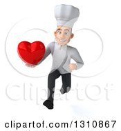 Clipart Of A 3d Young White Male Chef Sprinting And Holding A Love Heart Royalty Free Illustration