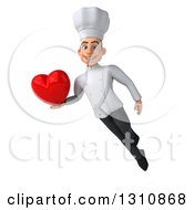 Clipart Of A 3d Young White Male Chef Floating And Holding A Love Heart Royalty Free Illustration