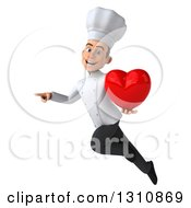 Clipart Of A 3d Young White Male Chef Flying Pointing And Holding A Love Heart Royalty Free Illustration