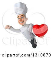 Clipart Of A 3d Young White Male Chef Flying And Holding A Love Heart Royalty Free Illustration