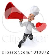 Clipart Of A 3d Young White Male Chef Holding A Love Heart And Announcing Upwards With A Megaphone Royalty Free Illustration