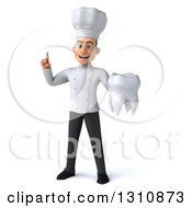 Clipart Of A 3d Young White Male Chef Holding Up A Finger And A Tooth Royalty Free Illustration