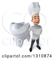 Clipart Of A 3d Young White Male Chef Holding Up A Tooth Royalty Free Illustration