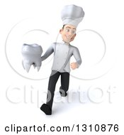 Clipart Of A 3d Young White Male Chef Walking And Holding A Tooth Royalty Free Illustration